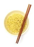 Instant noodles. In bowl and chopsticks stock photography