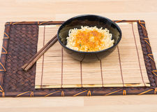 Instant noodles in black cup Royalty Free Stock Photo