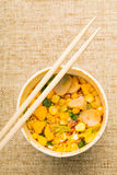 Instant noodles with chopstick Royalty Free Stock Photo