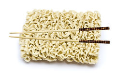 Instant noodles and chopsticks Royalty Free Stock Photography
