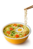 Instant noodles with chopsticks. Placed on white background Stock Image