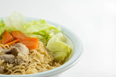 Instant noodles with chopsticks. Royalty Free Stock Image