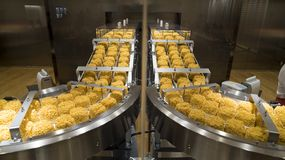 Instant noodles on conveyor belt in production process Royalty Free Stock Images