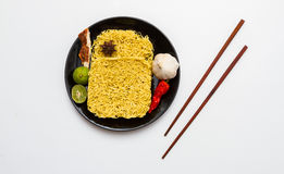 Instant noodles for cooking in the dish. Royalty Free Stock Image