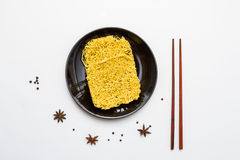 Instant noodles for cooking in the dish. Stock Image