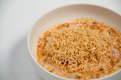 Instant noodles in dish Stock Image