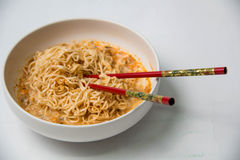 Instant noodles in dish Royalty Free Stock Image