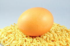 Instant noodles with egg Stock Photo