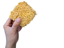 Instant noodles in hand Stock Photo