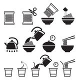 Instant noodles icons set. Vector illustrations Stock Photography