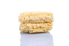 Instant Noodles IV. Raw and dried instant noodles over white background Stock Image