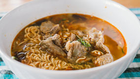 Instant noodles with meats. Royalty Free Stock Photo