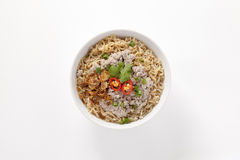 Instant noodles with minced pork in bowl Royalty Free Stock Photography
