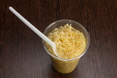 Instant noodles in a plastic cup Royalty Free Stock Photo