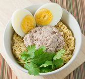 Instant Noodles with Pork and Boiled Egg in A Bowl Royalty Free Stock Photos