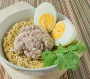 Instant Noodles with Pork and Boiled Egg Royalty Free Stock Photos