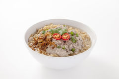 Instant noodles with pork in bowl Royalty Free Stock Image
