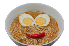 Instant noodles and smiley face. Stock Photo