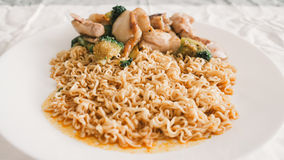 Instant noodles without soup. Stock Photos