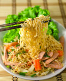 Instant noodles spicy salad Stock Photography