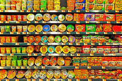Instant noodles on supermarket shelves royalty free stock image