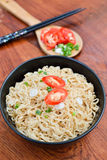 Instant noodles to eat sliced chili peppers. Instant noodles to eat sliced onions and chili peppers Royalty Free Stock Photography