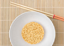 Instant noodles. On wood background Stock Image