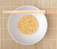 Instant noodles. On wood background Royalty Free Stock Photo