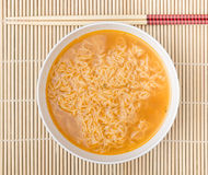 Instant noodles. On wood background Royalty Free Stock Photos