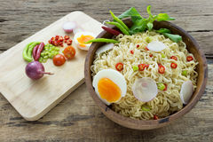 Instant noodles on wooden. Instant noodles on a wooden Stock Photos