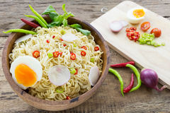Instant noodles on wooden. Instant noodles on a wooden Stock Photo