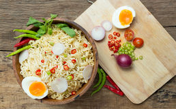 Instant noodles on wooden. Instant noodles on a wooden Stock Photography