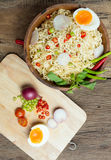 Instant noodles on wooden. Instant noodles on a wooden Royalty Free Stock Photos
