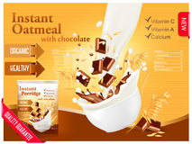 Instant oatmeal with chocolate advert concept. Milk flowing into Royalty Free Stock Images