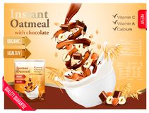 Instant oatmeal with chocolate and hazelnut Royalty Free Stock Image