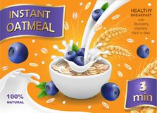 Instant oatmeal with milk, blueberry and oat advertising, vector illustration.  Royalty Free Stock Photos