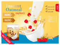 Instant oatmeal with raspberry advert concept. Stock Image