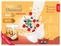Instant oatmeal with raspberry and blueberry advert concept Royalty Free Stock Image