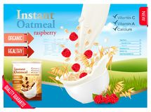 Instant oatmeal with strawberry advert concept. Royalty Free Stock Photos