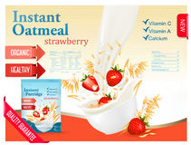 Instant oatmeal with strawberry advert concept. Stock Images