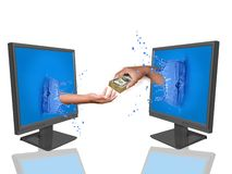 Instant payment. Hand holding moneys pop up throught lcd monitor- Online payment is the fastest way for a transaction Royalty Free Stock Photos