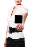 Instant photo. Woman holds a instant photo. Focus on instant photo Royalty Free Stock Image