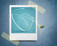 Instant photo. Fish jumping out of photo with water splashes Stock Photo