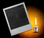 Instant photo. With black area with room to add image and candle Stock Photos
