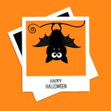 Instant photo with bat. Happy Halloween card. Flat Stock Photo