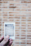 Instant photo of a brick wall Stock Photos