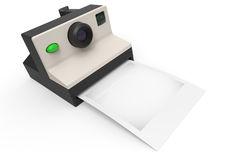Instant photo camera with blank photo for your image or logo Stock Image