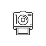 Instant photo camera line icon, outline vector sign. Linear style pictogram isolated on white. Symbol, logo illustration. Editable stroke. Pixel perfect Stock Photos