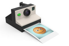Instant photo camera with photo of smiley symbol 3d render. Retro style instant photo camera with photo of smiley symbol 3d render on white Stock Image
