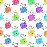 Instant photo camera. Seamless pattern with cameras. Hand-drawn background. Vector illustration. Royalty Free Stock Photos